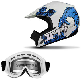 Capacete Cross Pro Tork Jett Veneno Branco Azul + Óculos 788