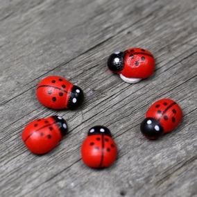 10 Joaninhas Miniatura Terrários Mini Jardim Fada Adesiva 3d