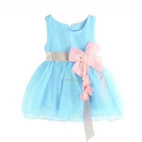Vestido Fiesta Beba Celeste Con Moño Talle 6-12 Meses Nuevo