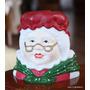 Portavela Ceramica Adorno Navidad Señora Noel