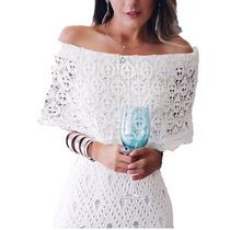 Vestido Tricô Crochê Ciganinha Longo Branco Lindo Moderno