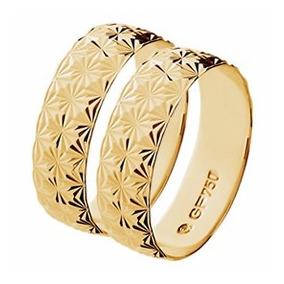 Par Aliança Casamento Abaulada Trabalhada Ouro 18k - Gf15026