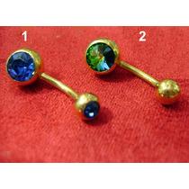 Piercing De Umbigo Folheado A Ouro Com Pedras Azul Ou Verde