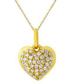 Colar Com Pingente Coração Com Brilhante Ouro Branco 18k - Joias e ... 20057770c7