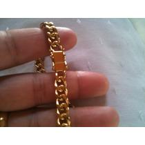 Corrente Pulseira Em Prata Banhada A Ouro 24k 6,5mm!!!