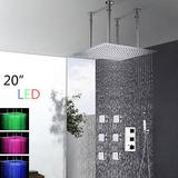 20 led grande lluvia ducha cabeza techo montado mezclador - Duchas Grandes