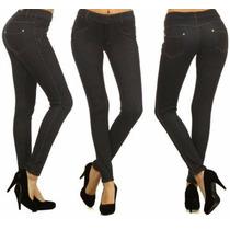 Calzas Tipo Jeans Elastizado Kaliskashop Azul Y Negro Talles