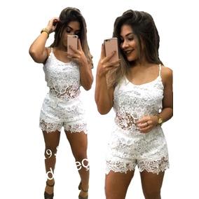 Conjunto Cropped E Short Rendado Renda Guipir Feminino Top