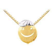 Corrente Ouro18k + Pingente Menino Boné O Branco Viagold L04