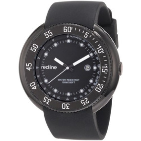 Red Line Mens 50039-bb-01 Driver Black Dial Black Silicone W