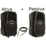 Kit Caixa De Som Frahm Ps12 A Ativa + Passiva 400w + Cabo