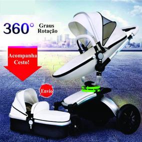 Carrinho 3 Em 1 Baby Stroller 360 Dobrável De Couro De 0-4