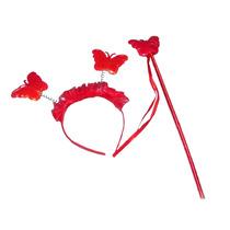 Vinchita Y Varita Roja Mariposas Disfraz Para Tu Princesa