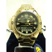 Relógio Masculino Esportivo Atlantis Luxo Dourado G3154