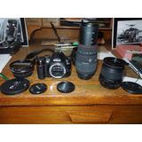 Camara Nikon D3000 Con Completo Equipo De Lentes Y Accesorio