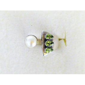 Precioso Anillo De Plata Con Esmeralda Y Perla. Diseño Único