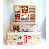 Set 3 Cajas Metalicas Diseño London Vintage