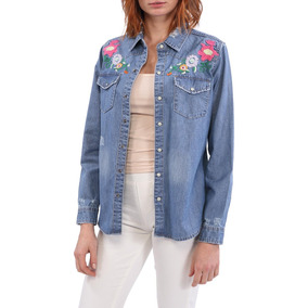 Blusa Bordada Denim Dijon