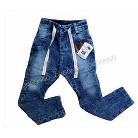 Calça Jeans Infantil Saruel Manchada Com Regulagem