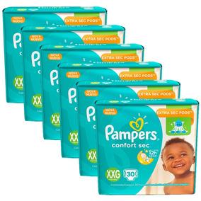6 Pacotes De Fralda Pampers Confort Sec Xxg -180 Unidades