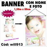 Banner De Aniversário Parabéns Infantil 1,20m X 80cm Will913