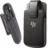 Funda, Carcasa Cuero Clip Blackberry Q10 Negro