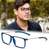 894ff6c9a0267 Armação Oculos Grau Masculino Ps18 Importado Acetato Metal