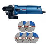 Amoladora Angular Bosch 115mm 4 1/2  670w Mas 5 Discos Corte