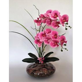 Arranjo Com 2 Orquídeas De Silicone 3d Rosa Em Vaso De Vidro