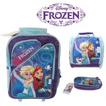 Kit Mochila Frozen De Rodinhas Original + Lancheira + Estojo