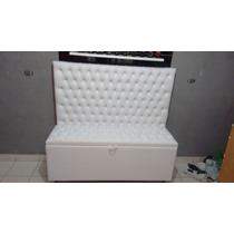 Cabeceira Para Cama Box Casal E Bau Em Corino Branco