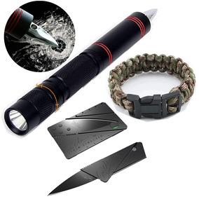 Caneta Tática Lâmina E Lanterna + Paracord +mini Faca Tática