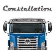 Emblema Adesivo Volks Constellation Aço Escovado Quebra-sol