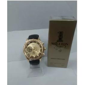 Kit Relógio Mascunino Dourado Pulseira/couro+perfume Lindo