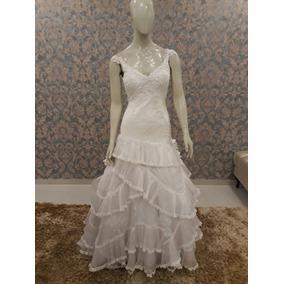 Vestido Noiva Renda Corpo Alongado Babados Tn-194