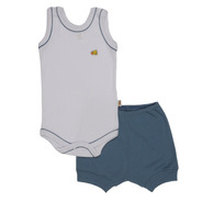 Conjunto Bebê Body Short Branco E Azul Com Vivo - Baby Duck