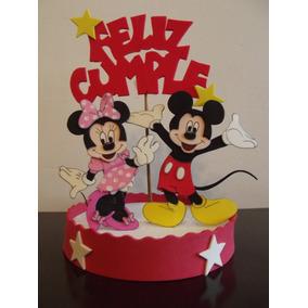 Adorno De Torta Minnie Y Mickey En Goma Eva.