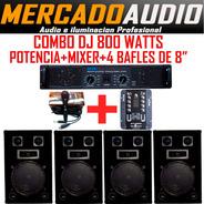 Combo Mini Dj  Potencia+mixer+4 Bafles 8 PuLG  + Micrófono