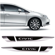 Par De Aplique Lateral New Civic G9 G10 Emblema Resinado