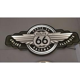 Placa Vintage Luminosa Decoração Harley, Ford, Rota 66