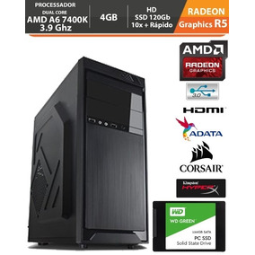 Pc Gamer Amd A6 7400k 3.9ghz Radeon R5 4gb + Hd Ssd + Acess.