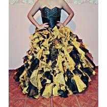 Alquiler De Vestido De 15 Negro Y Amarillo