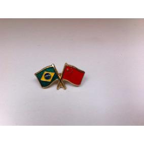 Pins Da Bandeira Do Brasil X China