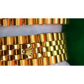 Pulcera Rolex En 14 Kilates Chapa De Oro En Ecero Inoxidable