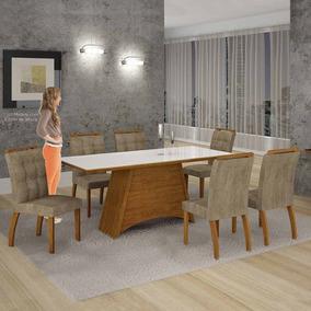 Mesa De Jantar Malaga Vidro Branco C/6 Cadeiras Animale Capu