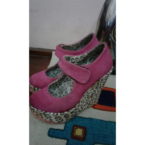 Zapatos Con Plataforma Talle 36 Leopardo De Gamuza