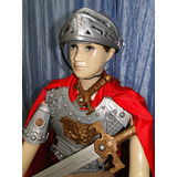 Fantasia Infantil Medieval Gladiador Capa Espada Capacete