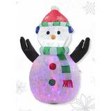 Figura Navideña Inflable Muñeco De Nieve Estampado 120 Cm