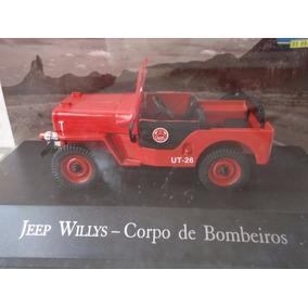 Miniatura Jeep Willys Corpo De Bombeiros Veículos De Serviço