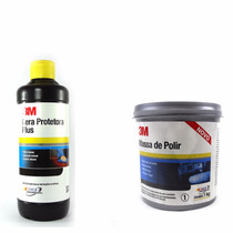 Kit Massa De Polir 1 Kg + Cera Protetora Plus 500g 3m